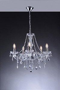 Lustre de Cristal para Sala Transparente 5 Braços