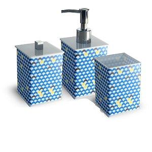 Kit para Lavabo em Acrílico Legítimo - Porta Escova Blue