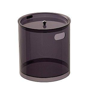 Cesto Redondo M 100% Acrílico p/ Escritório Banheiro Lavabo Fumê