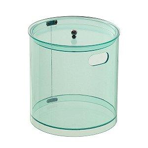 Cesto Redondo M 100% Acrílico p/ Escritório Banheiro Lavabo Verde