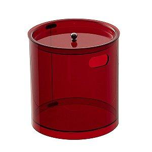 Cesto Redondo M 100% Acrílico p/ Escritório Banheiro Lavabo Vermelho