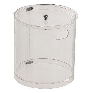 Cesto Redondo M 100% Acrílico p/ Escritório Banheiro Lavabo Cristal