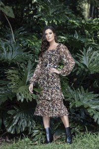 Vestido Midi Animal Print