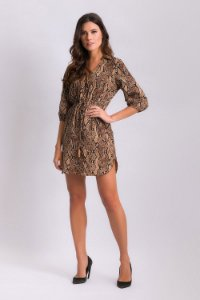 Vestido Chemise Animal Print - Cobra