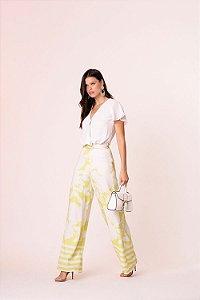 Calça Pantalona Floral Lima
