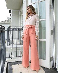 Calça Pantalona Linho com Babados e Amarração Hush