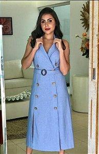 Vestido Midi de Linho com Gola, Botões duplo, com Fendas e Cinto Azul