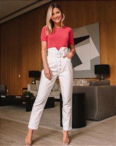 Calça Jeans com Botões e Cinto