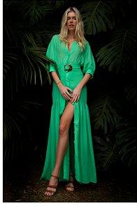 Vestido Longo Crepe Agata Rosa Dahlia Verde
