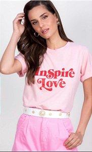 Blusa Tshirt Inspire Love Leblog Rosa