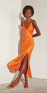 Vestido Midi De Alça Com Lasca Leblog