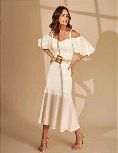 Vestido Linho Manga Bufante Off White Deep
