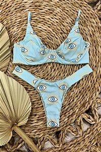 Biquini Catarina Meia Taça Olho Grego Azul