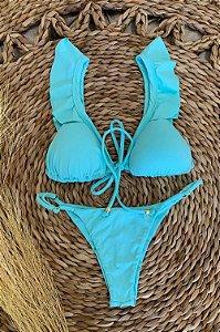 Biquini Suzy Babado Duplo-Azul Tiffany