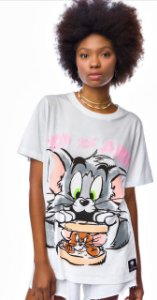 T-shirt Branca Tom e Jerry