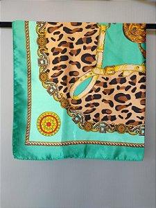 Lenço Toque de Seda 60x60 cm Animal Print