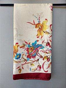 Lenço Toque de Seda 90x90 cm Floral
