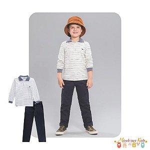 Conjunto de camisa polo e calça de sarja Luc.boo