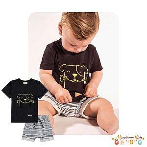Conjunto de camiseta e bermuda de moletinho Luc.boo -v