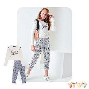 Conjunto de blusa em cotton e calca em nylon Teen Lilimoon