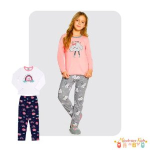 Pijama Em Meia Malha Penteada E Estampa Com Glitter Alakazoo