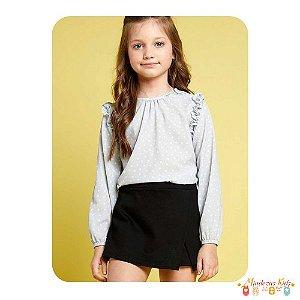 Conjunto de blusa em crepe e shorts saia em malha montaria Infanti