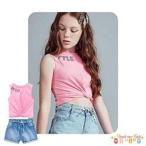 Conjunto de blusa cropped e shorts mom em jeans Vic&Vicky