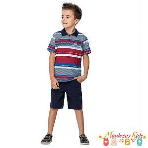 Conjunto Camisa Polo Listrada e bermuda em sarja Quimby - BLK1