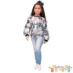 Conjunto blusa estampada e calça joggjeans Ópera Kids - BLK1