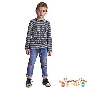 Conjunto blusa tricô e calça jogger jeans Opera Kids
