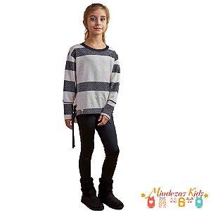 Conjunto blusa de malha tricô e calça montaria Ópera Kids - BLK