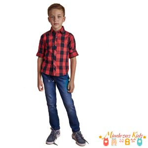 Camisa xadrez flanelada 100% algodão Opera Kids - BLK