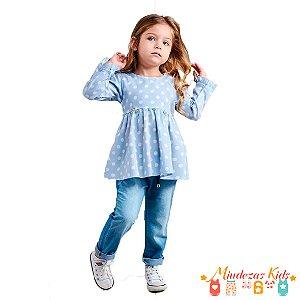 Conjunto Calça Jeans com elastano e Bata Poá Opera Kids - BLK