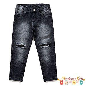 Calça Jeans jegging destroyed Preta com strass Feminina Parizi