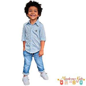 Conjunto Camisa Azul Claro e Calça Jeans Opera Kids