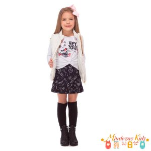 Conjunto Blusa e Short Saia Le Petit Kukiê Hey You
