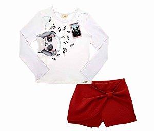Blusa em cotton com short saia Le Petit Kukie - BLK1