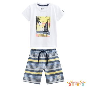 Conjunto camiseta e bermuda em sarja Onda Marinha