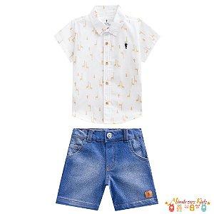 Conjunto camisa e bermuda jeans Onda Marinho - BLK