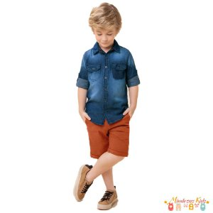 Conjunto Camisa Jeans e Short de Sarja Carinhoso