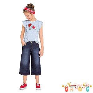 Conjunto Blusa em Viscose e Calça Pantacourt em Jeans Açucena - BLK1