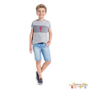 Conjunto camiseta e bermuda jeans Onda Marinha