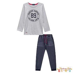 Conjunto Camiseta e Calça de Malha Denim Luc.boo Cinza