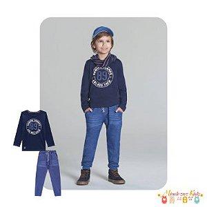 Conjunto Camiseta e Calça de Malha Denim Luc.boo