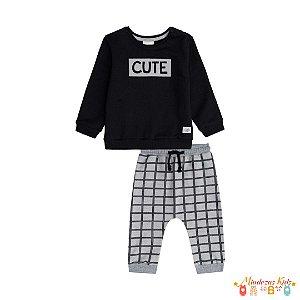 Conjunto de blusão e calça de moletom pelúcia Luc.boo Cute