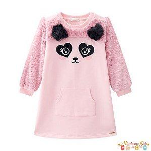 Vestido em moletom felpado e pêlo Panda Açucena - BLK