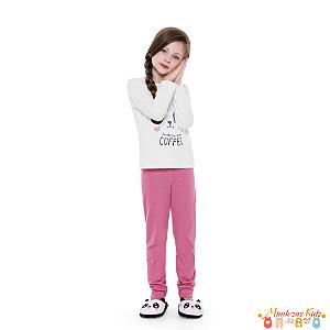 Pijama Kids em malha Panda Fakini