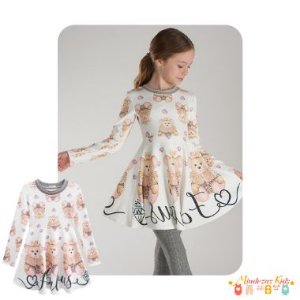 Vestido em malha crepe Ursinhas Fabulouse Infanti