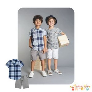Camisa tricoline xadrez fio tinto e bermuda de sarja com elastano Luc.Boo