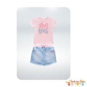 Conjunto blusa em cotton e short saia Jeans Açucena